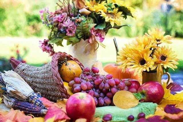 beautiful cornucopia flowers arrangements and thanksgiving hostess gift ideas