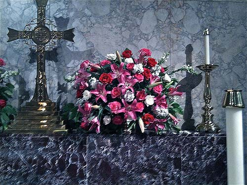 cross flower altar arrangement and gothic church flowers arrangement