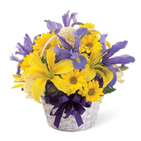 Yellow lily spring basket bouquet at send flowers mightylinksfo
