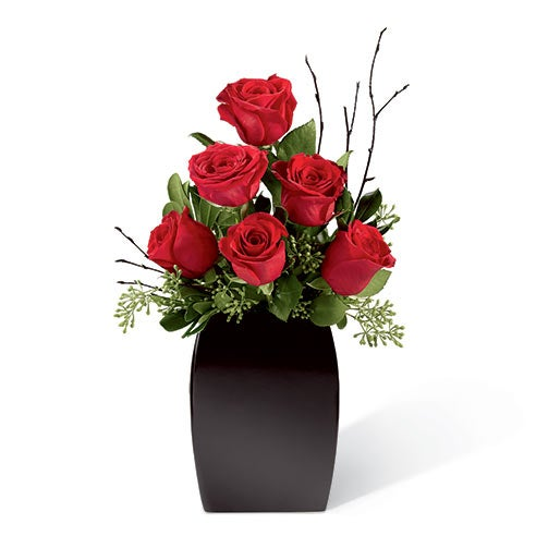 Contemporary Valentine's Day red roses in a black ceramic base