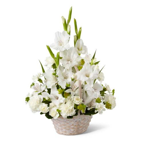 White gladiolus, Peruvian lilies, carnations and mini carnations for parents day flower delivery