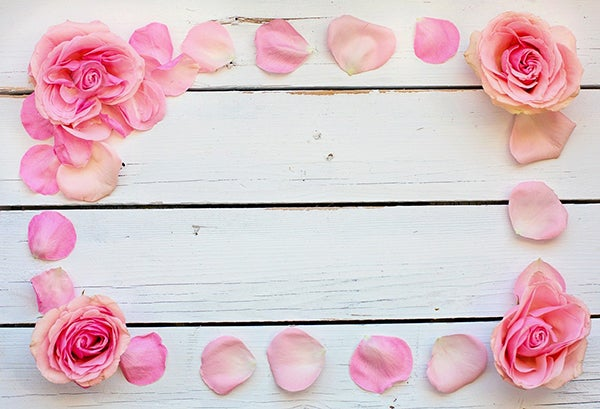 Pink Roses for mothers day on a table in petals