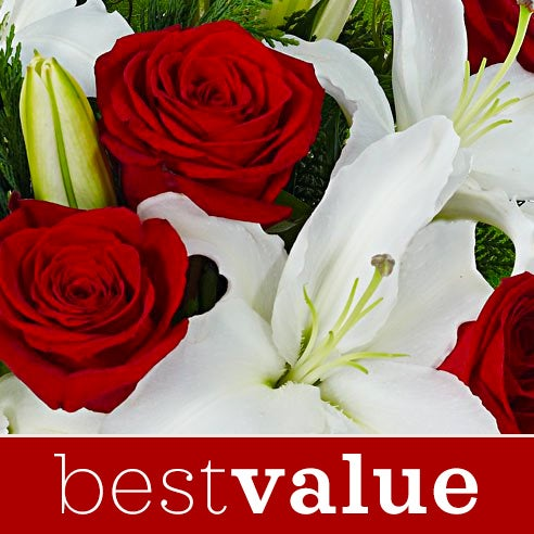 Best value flower delivery Christmas flowers bouquet with roses