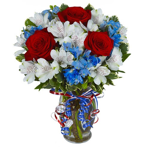 Proud of the red white and blue at send flowers for Red white blue flower arrangements