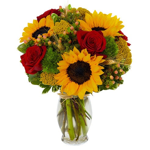 Red roses amp sunflowers bouquet at send flowers