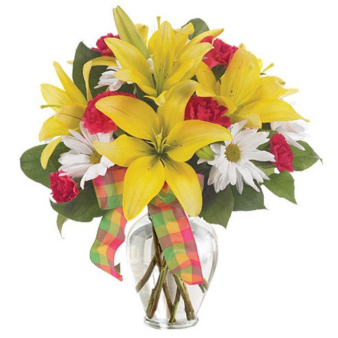 Send flowers online like this gorgeous yellow daisy bouquet