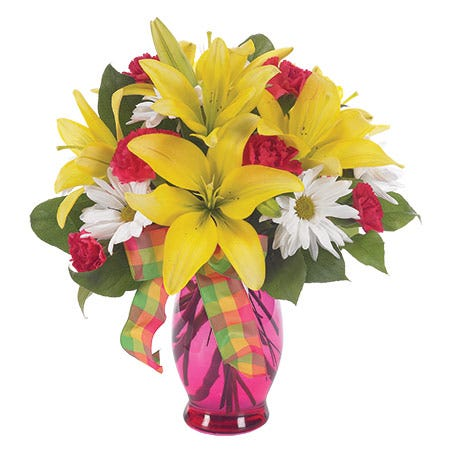 Order flowers with yellow lilies with red carnations and white daisies