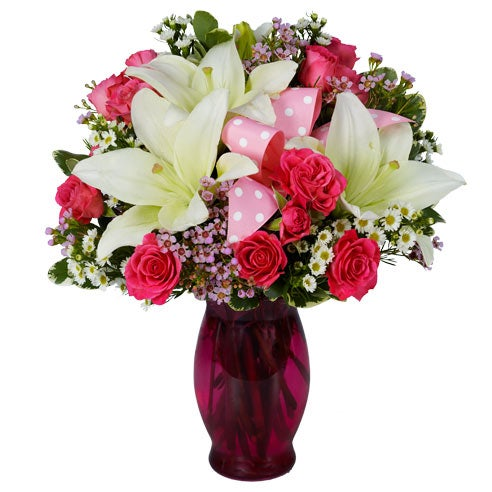 Free flower delivery same day of white lilies and hot pink roses