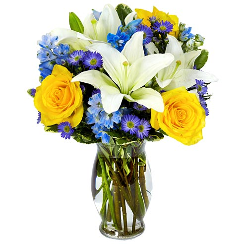 Mother's Day flower idea bouquet with yellow roses, white lily, and blue flowers