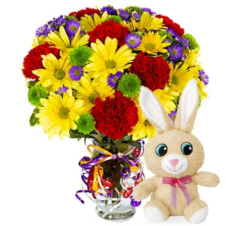 Yellow daisy, red carnations, flowers and ribbons Easter bouquet with stuffed animal