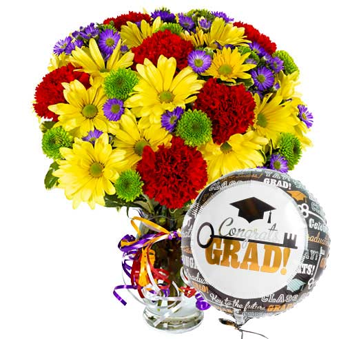 Graduation mixed yellow daisy red carnations flower bouquet with graduation balloon