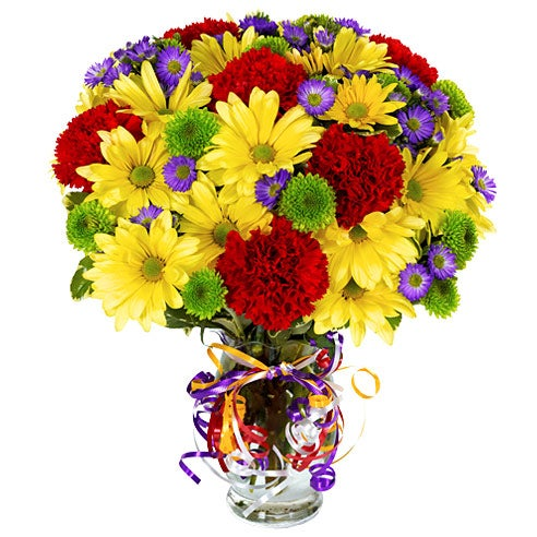 Mixed flower bouquet for men in glass vase with ribbon