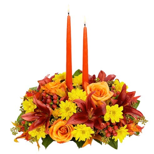 Thanksgiving gift idea and thanksgiving flower and candle centerpieces for the dinner table
