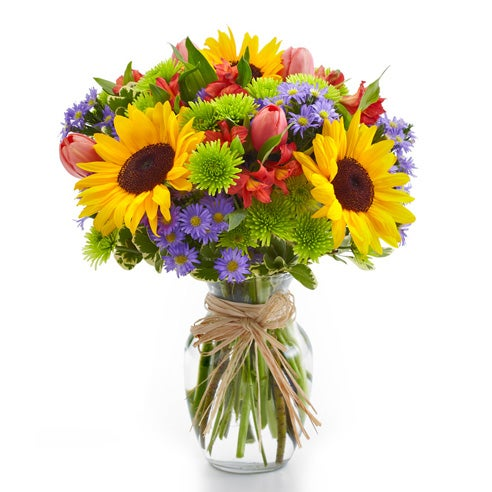 Sunflower arrangements with sunflowers, green mums and purple flowers
