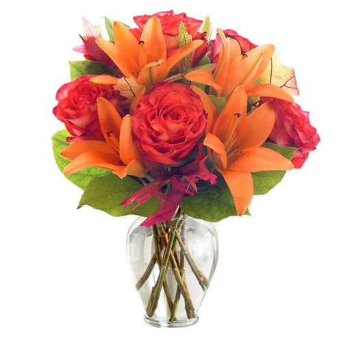 Orange asiatic lily with cheap flowers and orange roses for sunday flower delivery