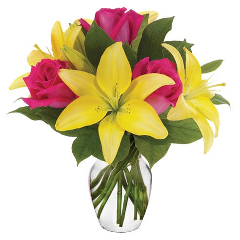 Lily and rose bouquet of discount flowers and cheap flowers