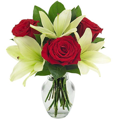 Lily and rose wedding bouquet to send flowers cheap today
