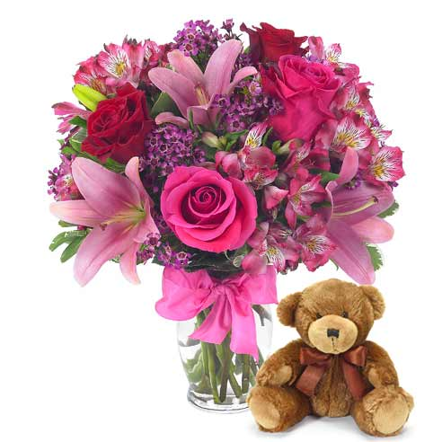 Valentine's Day bouquet teddy bear and pink roses delivery