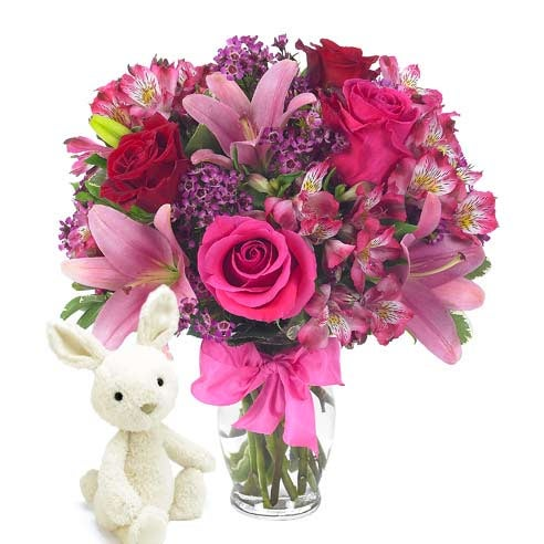 Valentine's Day bouquet delivery hot pink rose bouquet with bunny
