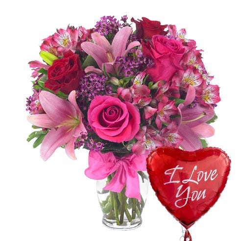 I love you flower and balloon bouquet, send pink flowers, lilies, and roses