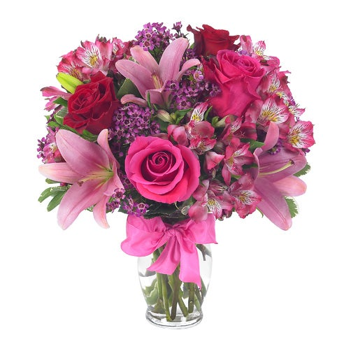 Pink Mother's Day bouquet with pink roses, pink lily, and cheap pink flowers