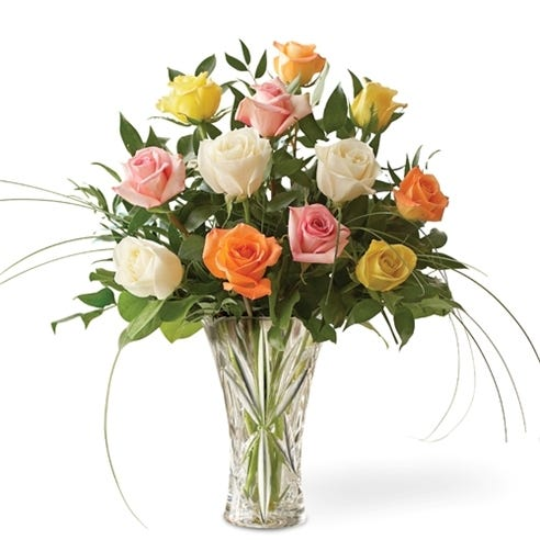 Long Stem One Dozen Mixed Roses In Lenox Vase At Send Flowers