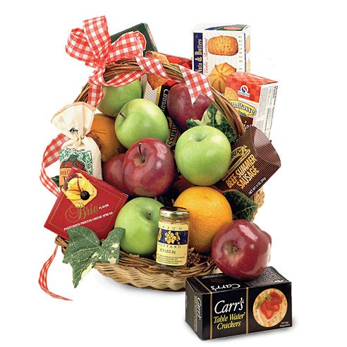 Gourmet fruit basket delivery and apple gift basket of apples, crackers, cheese, and jams