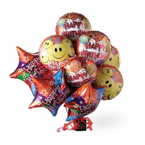 Birthday balloons delivery with happy birthday mylar balloon bouquet