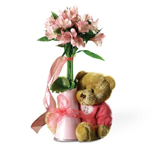 9ff5c99c3e9 Get Well Bear and Flowers. SKU  BN631G. Pink alstroemeria delivered in pink  vase with teddy bear