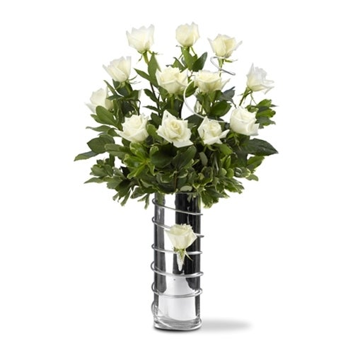 Shimmering Dozen White Roses At Send Flowers