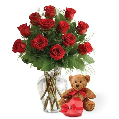 Red Rose Bundle with Chocolates and Teddy Bear at Send Flowers