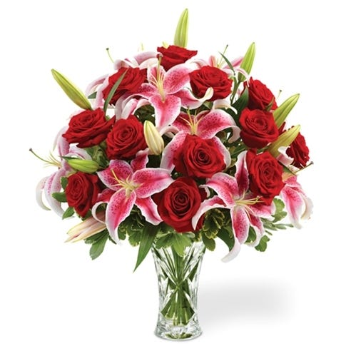 Red Roses With Calla Lilies In A Lenox Vase At Send Flowers