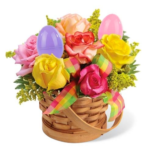 Easter egg bouquet with plastic eggs and easter egg flowers