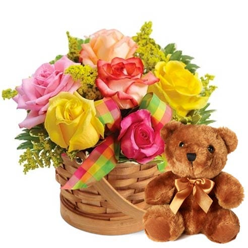 pastel roses flower basket and bear basket delivery, cheap bear delivery today