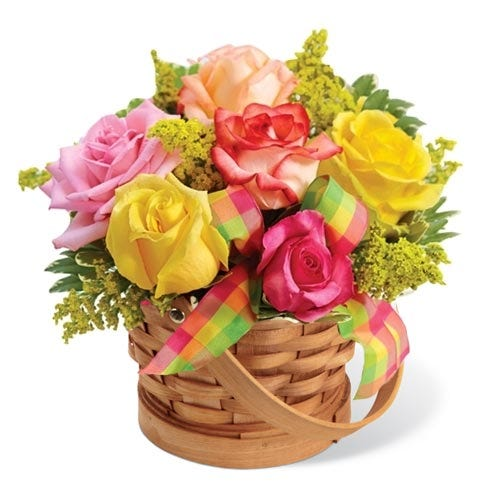Mixed rose bouquet and mixed roses in a basket for cheap flower delivery no fees