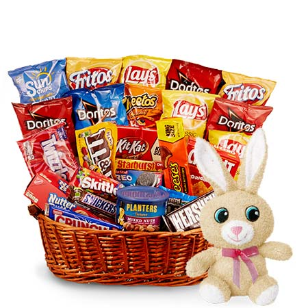 Sweet and salty Easter gifts basket with stuffed animal Easter bunny plush
