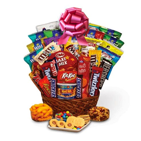 same day parents day gift basket delivery with free shipping, candy, and snacks