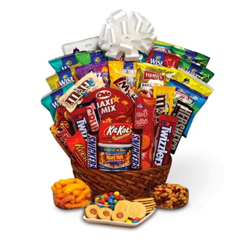 Awesome gifts baskets for guys in a snacks and chocolate gift basket delivery