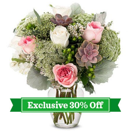 Soft Succulent and Rose Bouquet