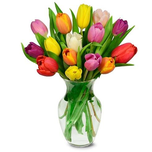 Boxed tulip bouquet of flowers for mother's day flower delivery