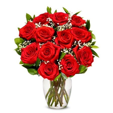 red roses delivered in a box with christmas flowers from sendflower