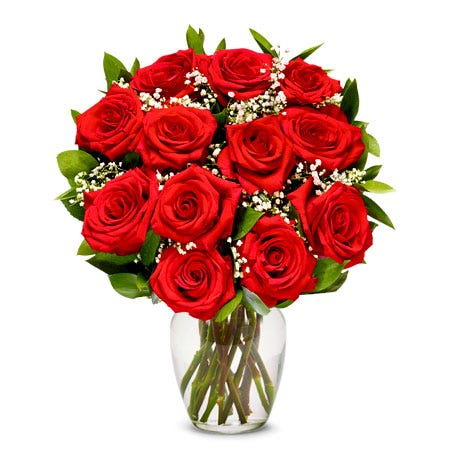 Best roses for Valentines Day 12 long stem boxed red roses