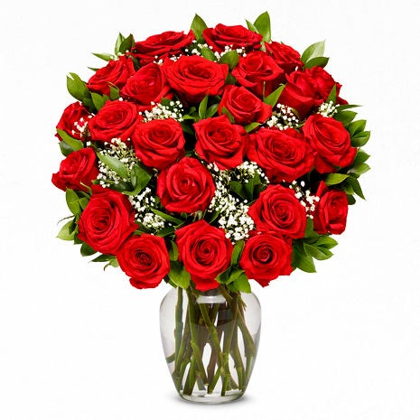 Order 2 dozen long stem red roses online today for delivery