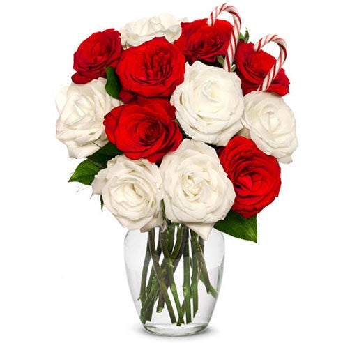 Have Christmas flowers delivered with white roses, red roses, cheap flowers in a candy cane bouquet