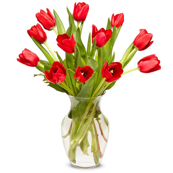 red tulip flower delivery near me with red tulips in glass vase