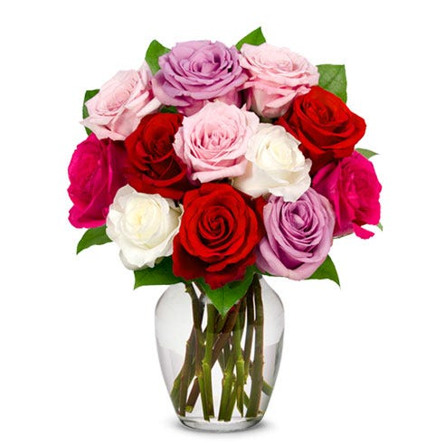 Next day sweetheart roses delivery with long stem red, pink, white and lavender roses