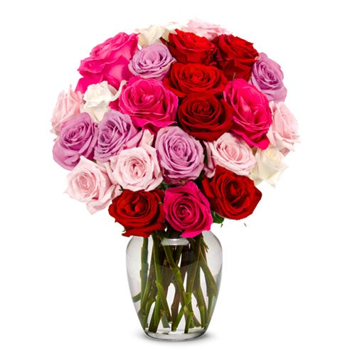 Mixed rose bouquet of red roses and lavender roses from sendflowers com