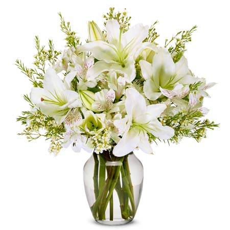 white lily arrangements and white lilies bouquet delivery of flowers in a box
