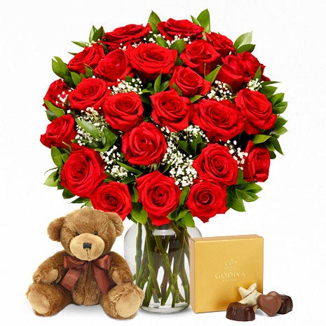Two Dozen Red Roses with Chocolates and Teddy Bear