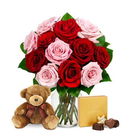 One Dozen Red & Pink Roses with Godiva Chocolates and Teddy Bear